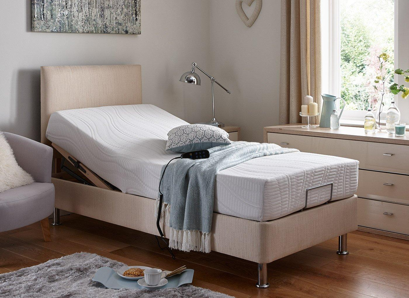 Fontwell Mattress With Standard Oatmeal Adjustable Divan Bed On Legs - Firm 2'6 Small single BEIGE