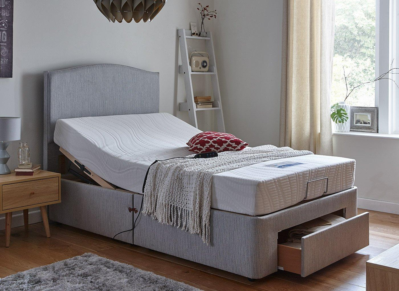 Fontwell Mattress With Standard Grey Adjustable Divan Bed - Firm 4'0 Small double