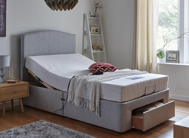 Fontwell Mattress With Standard Grey Adjustable Divan Bed - Firm 2'6 Small single