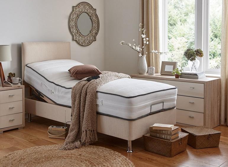 Westwood Mattress With Standard Oatmeal Adjustable Divan Bed On Legs - Medium Firm 4'6 Double BEIGE