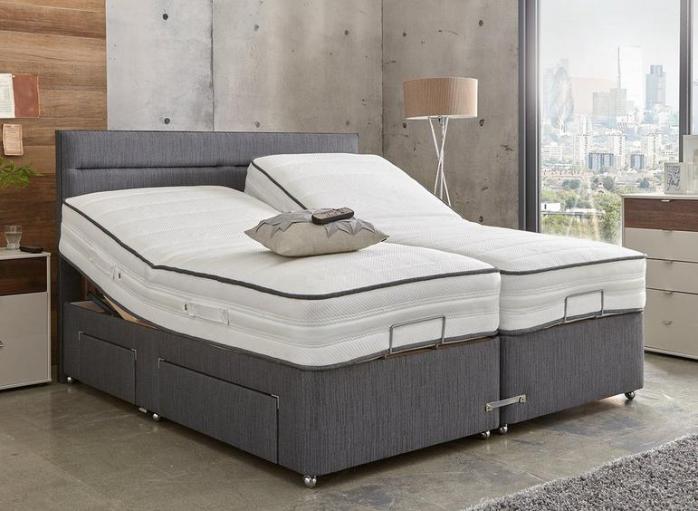 Westwood Slate Adjustable Divan Bed - Medium Firm 6'0 Super king GREY