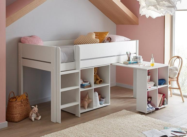 Tinsley Mid Sleeper Bed Frame with Storage & Desk WHITE