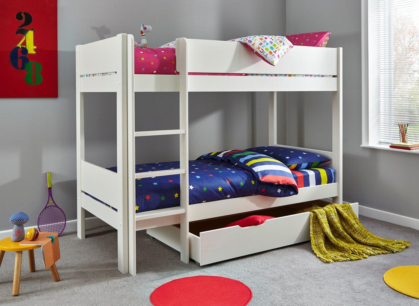 Tinsley Bunk Bed Frame with Drawer WHITE