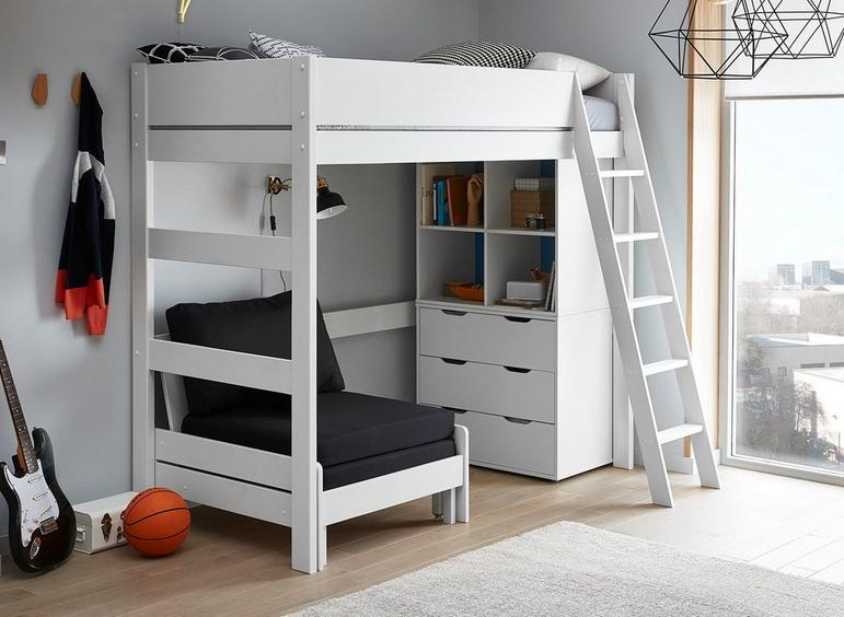 Anderson High Sleeper With Black Chair WHITE