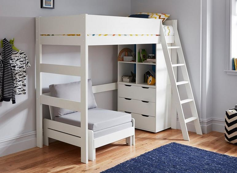 Anderson High Sleeper With Silver Chair WHITE