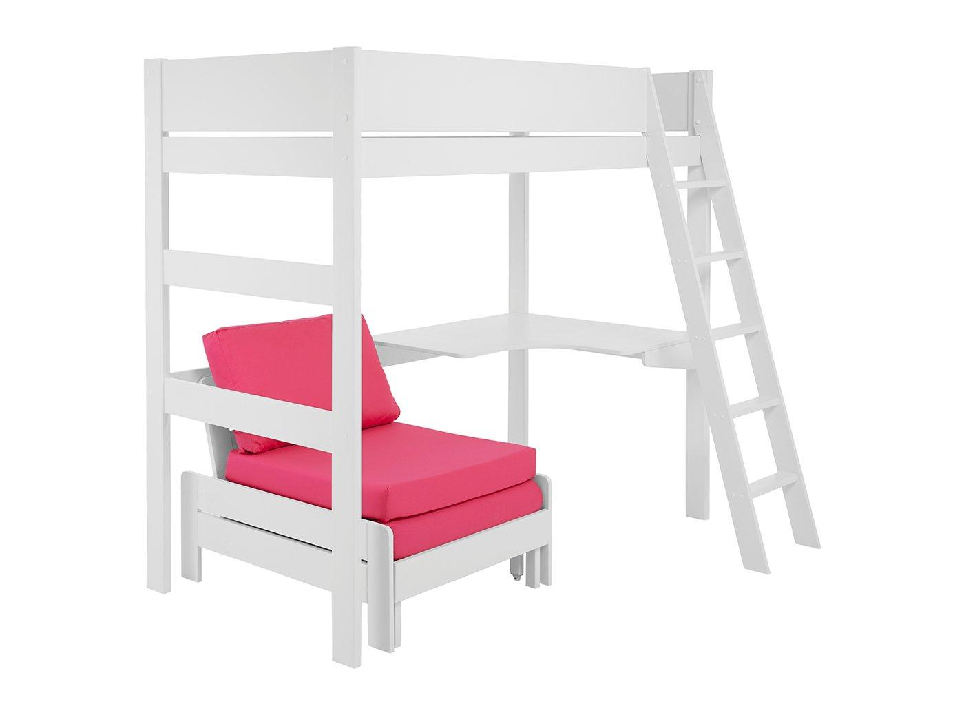 Anderson Desk High Sleeper With Pink Chair WHITE