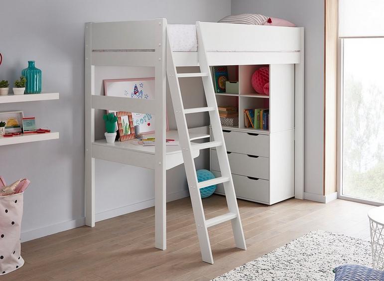 Anderson Desk High Sleeper With Storage WHITE