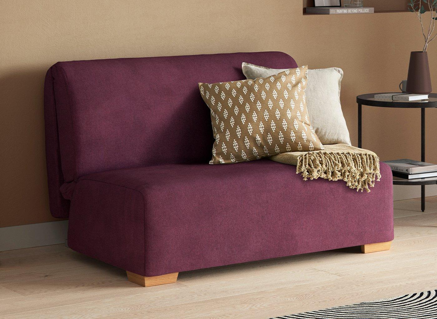 Cork 2 Seater 4'6 A-Frame Sofa Bed - Plum Double PURPLE