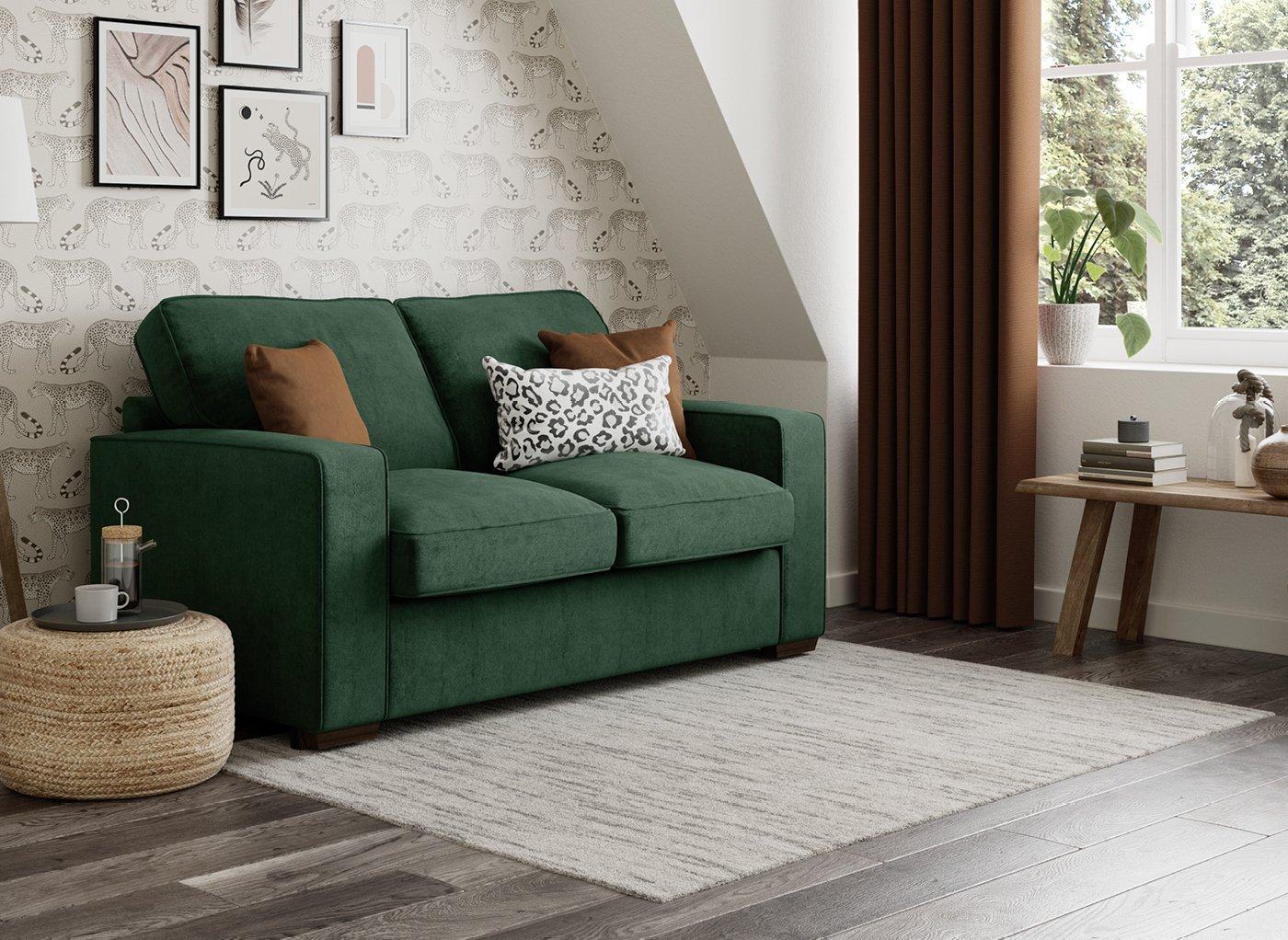 Odessa 2 Seater Sofa Bed Standard - Emerald Green 2 Seater