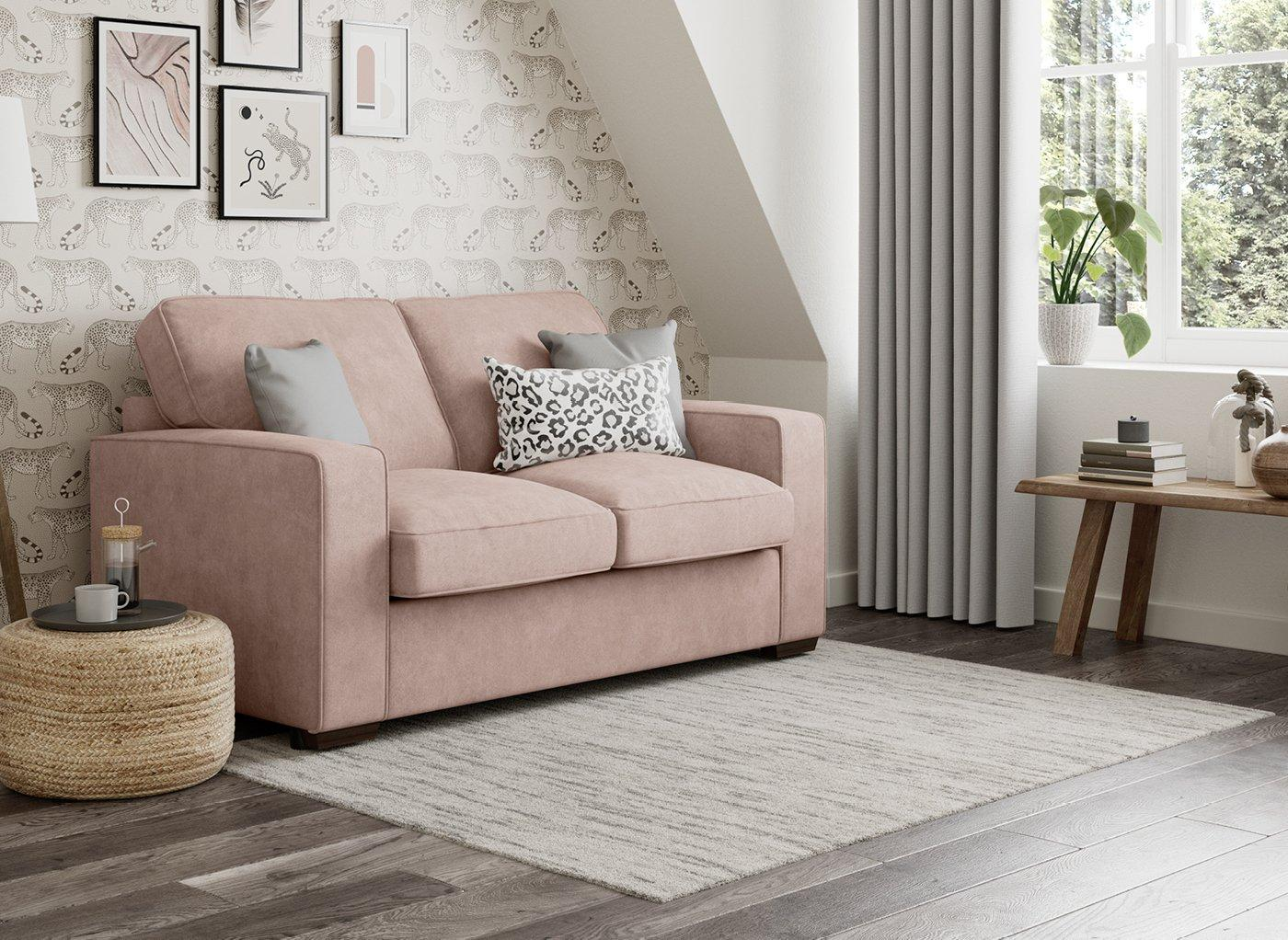 Odessa 3 Seater Sofa Bed Deluxe - Blush 3 Seater PINK