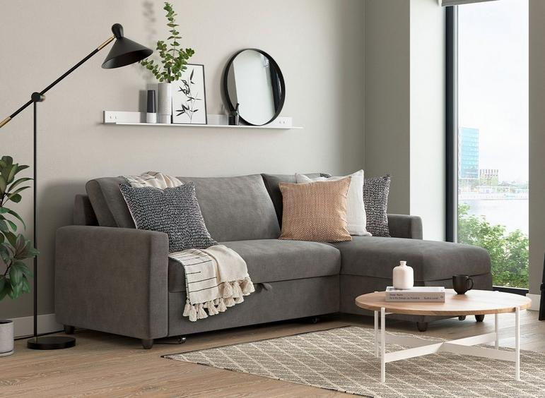 Limerick 3 Seat Corner Sofa Bed - Smoke DARK_GREY