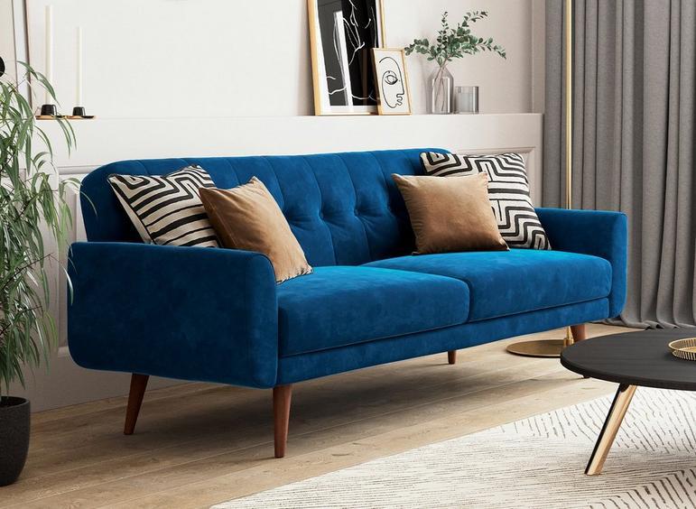 Gallway 3 Seater Sofa Bed - Navy Velvet BLUE