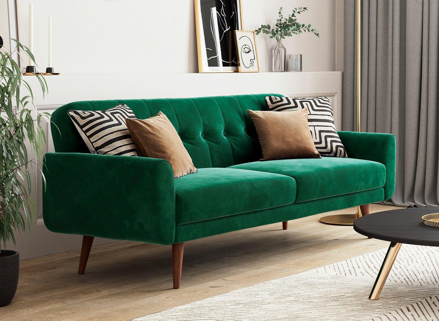 Gallway 3 Seater Sofa Bed - Forest Green Velvet