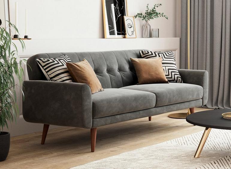 Gallway 3 Seater Sofa Bed - Steel Grey Velvet