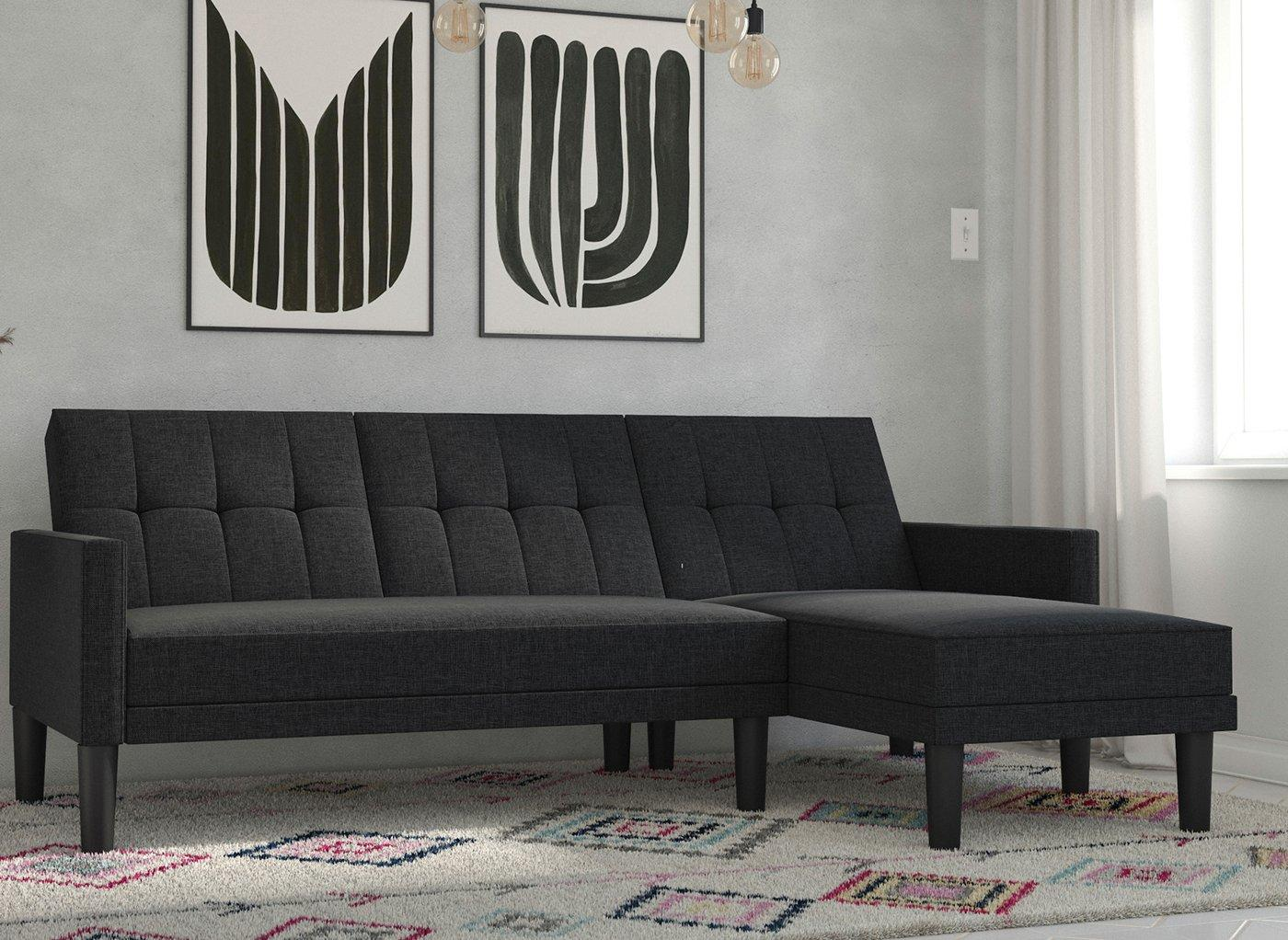 Valentina 3 Seater Corner Sofa Bed - Dark grey