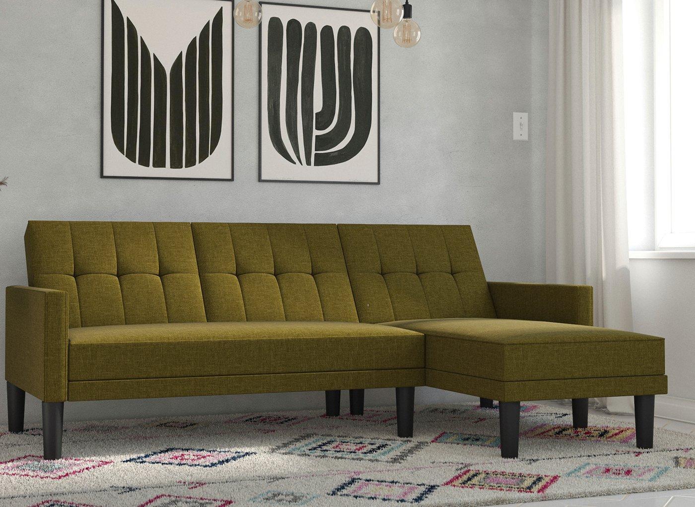 Valentina 3 Seater Corner Sofa Bed - Green