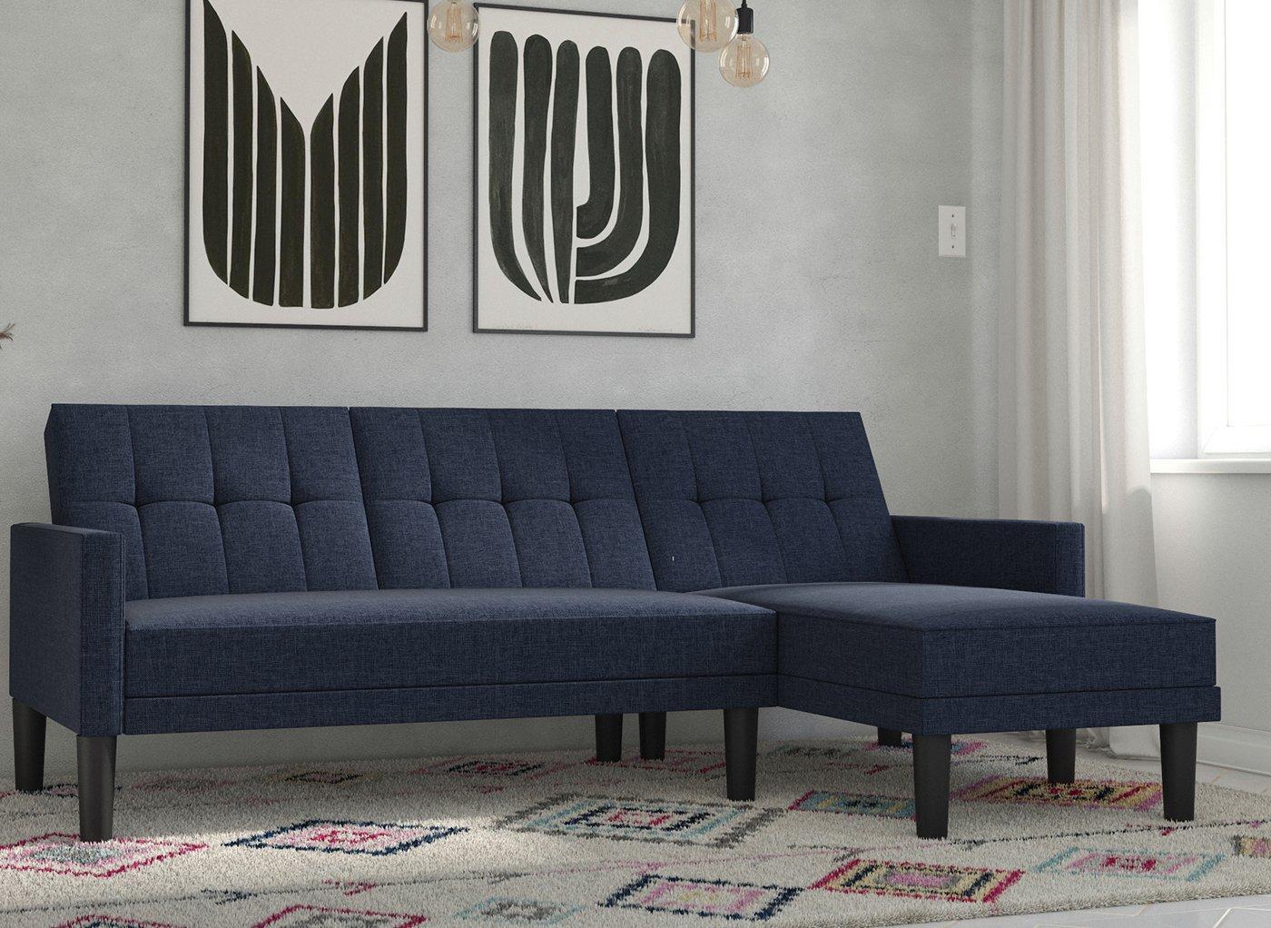 Valentina 3 Seater Corner Sofa Bed - Navy BLUE