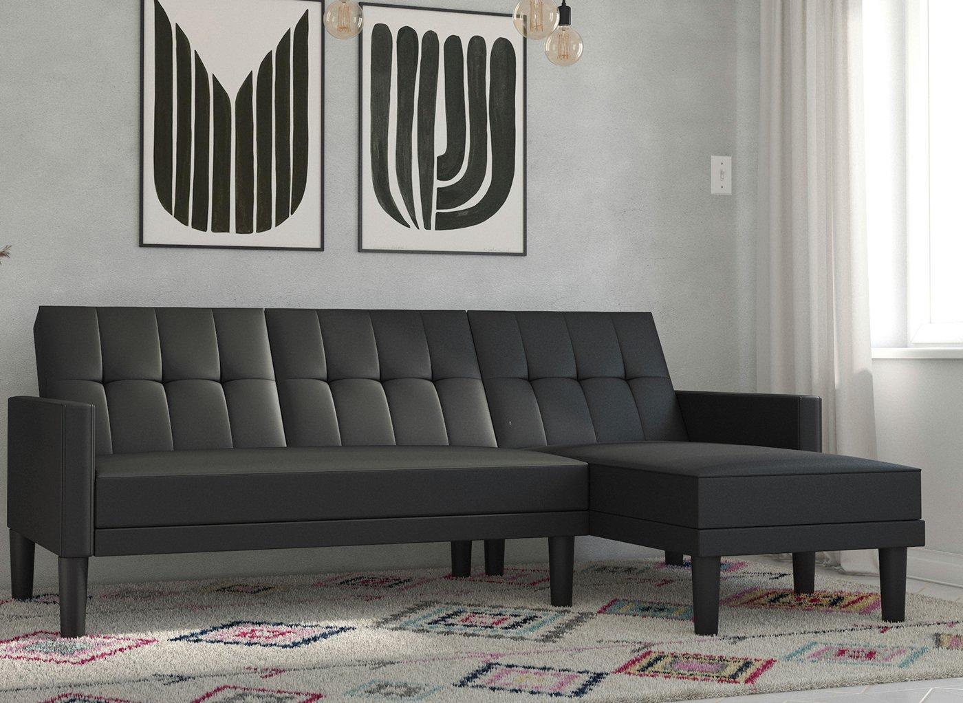 Valentina 3 Seater Faux Leather Corner Sofa Bed - Black