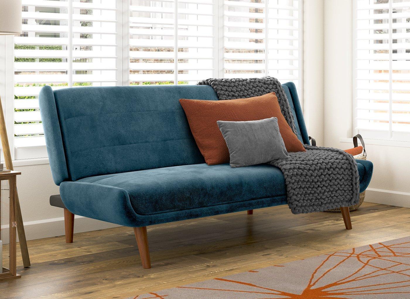 Ellery 3 Seater Velvet Clic-Clac Sofa Bed - Blue