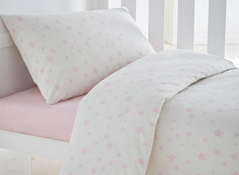 S'Night Jersey Star Duvet Set Cot Bed - Pink
