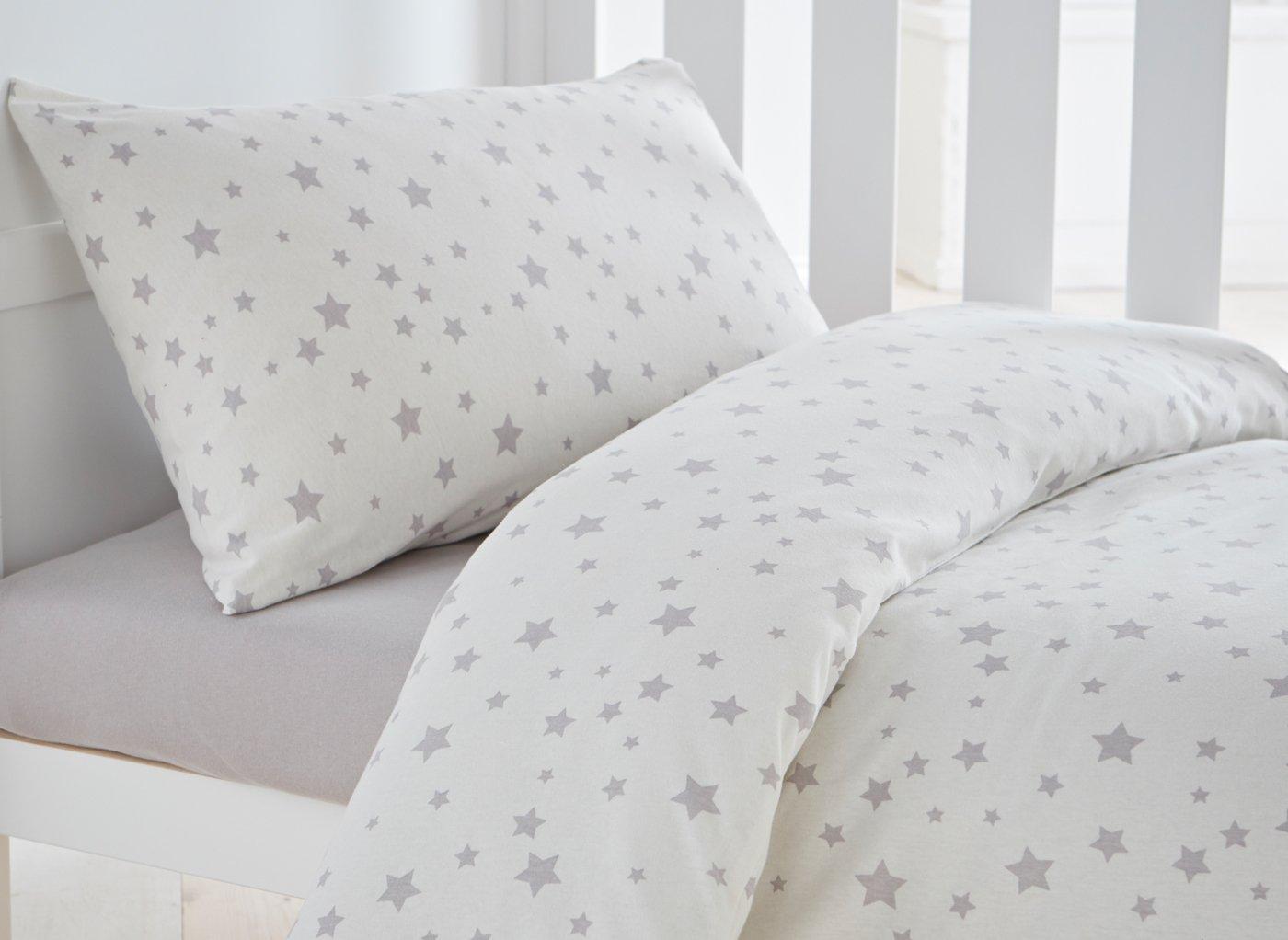 S'Night Jersey Star Duvet Set Cot Bed - Grey