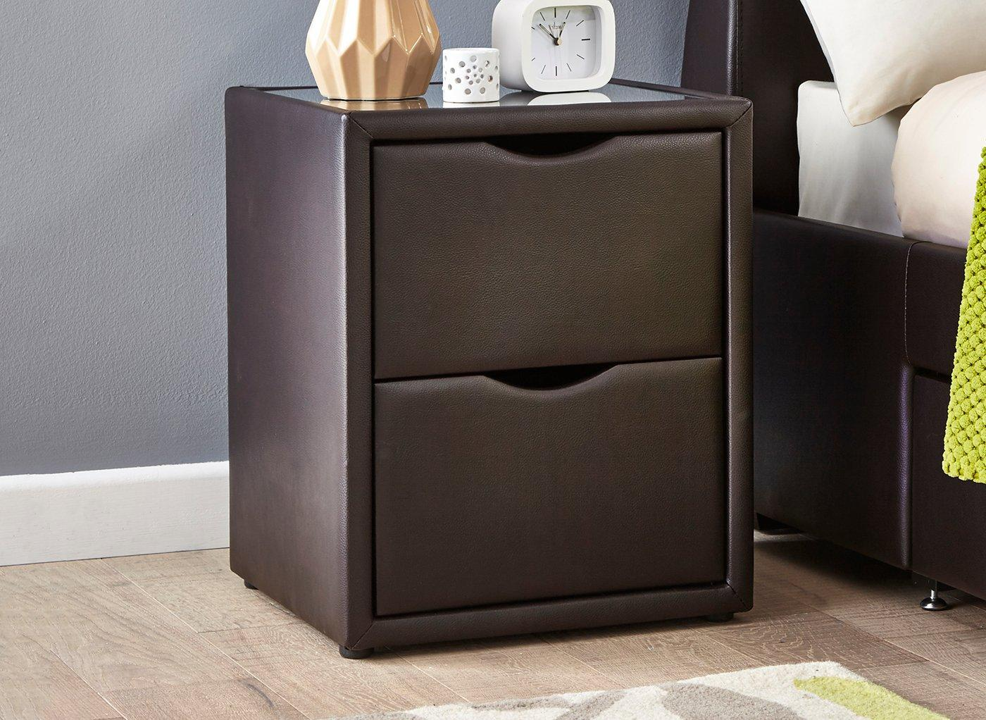 Lucia Brown Faux Leather 2 Drawer Bedside Chest (£99)