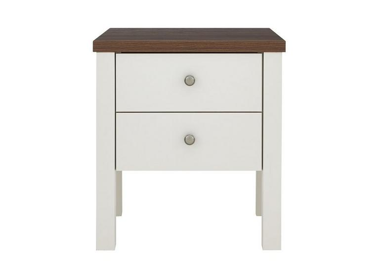 Sloane 2 Drawer Bedside Chest - Champagne and Dark Wood CREAM