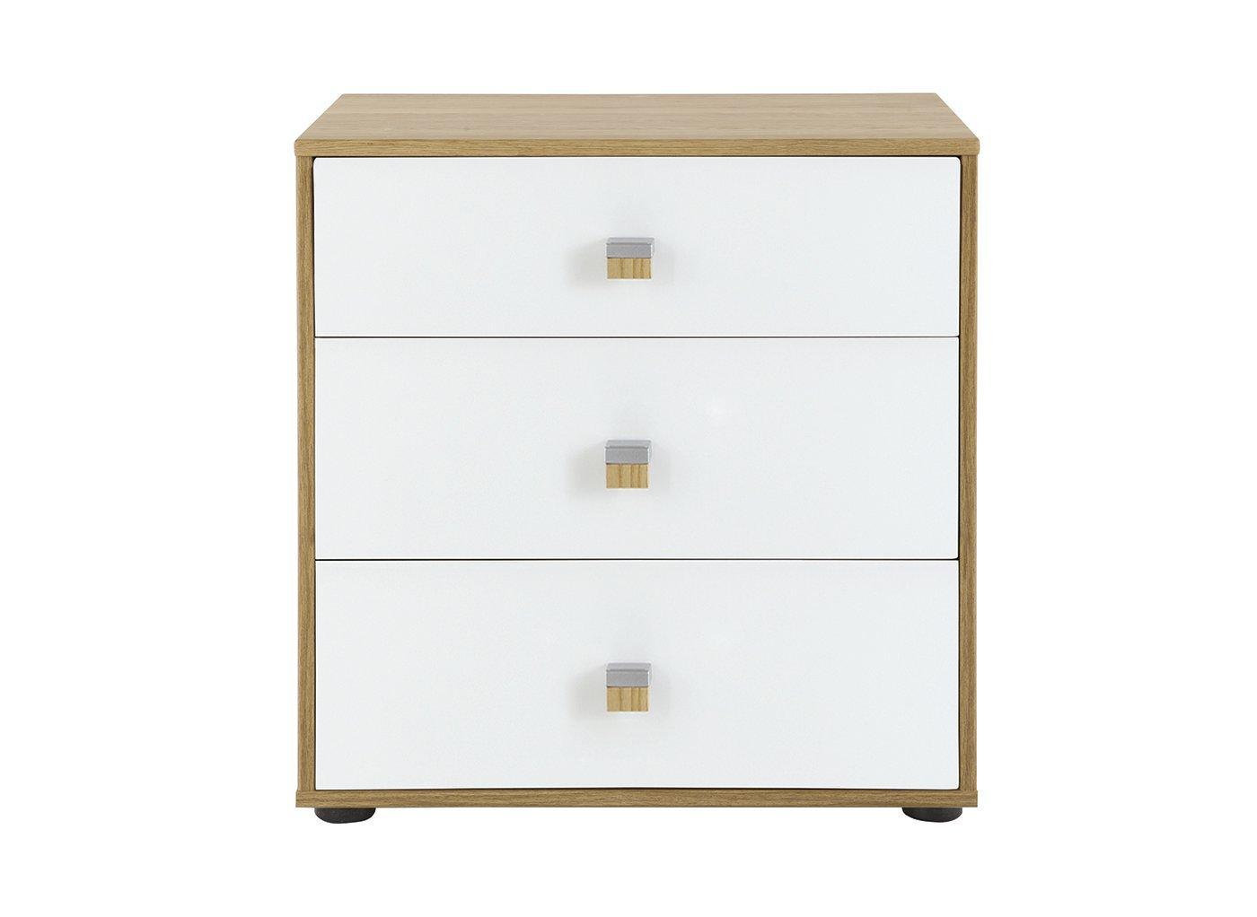 Minsk 3 Drawer Bedside Table – Oak & White (£299)