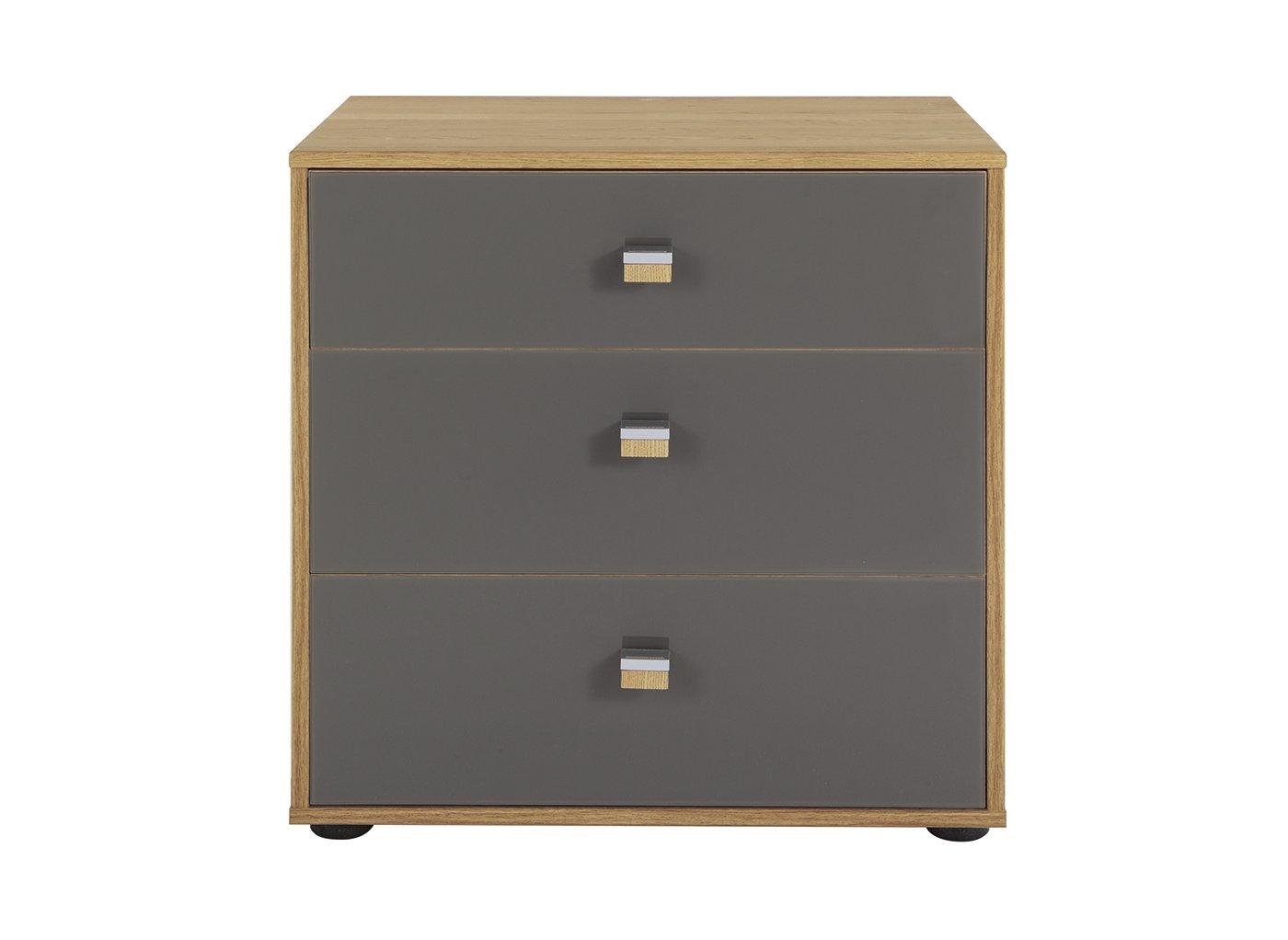 Minsk 3 Drawer Bedside Chest – Oak & Grey (£299)