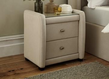 Deacon 2 Drawer Bedside Chest Beige Fabric