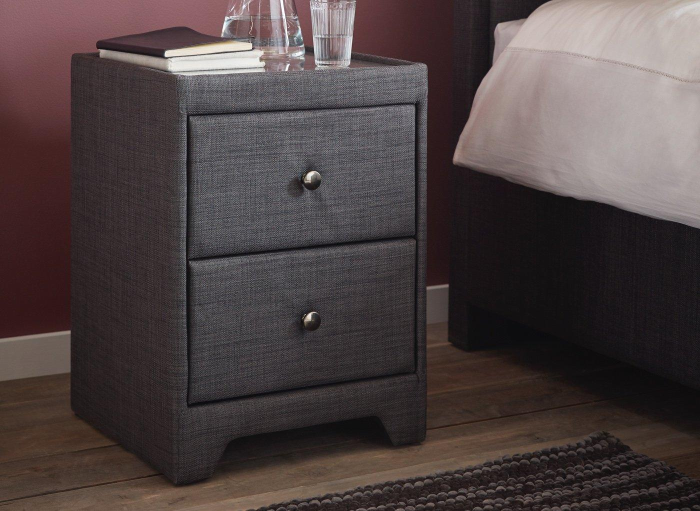 Kimberley 2 Drawer Slate Bedside Chest GREY
