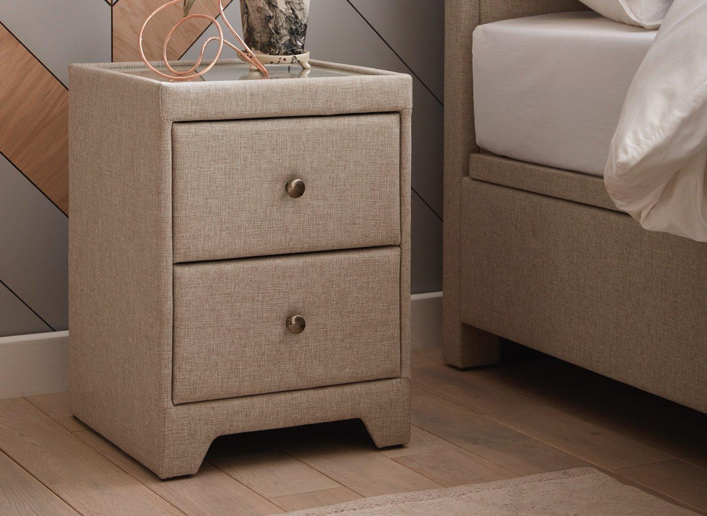 Kimberley 2 Drawer Oatmeal Bedside Chest BEIGE