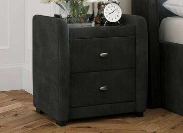 Deacon Velvet Upholstered 2 Drawer Bedside Chest Grey
