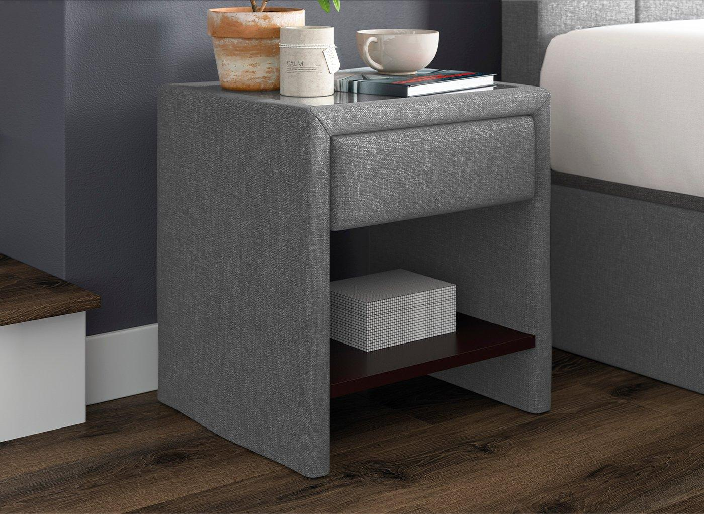 Harrow 1 Drawer Upholstered USB Charging Bedside Chest SILVER
