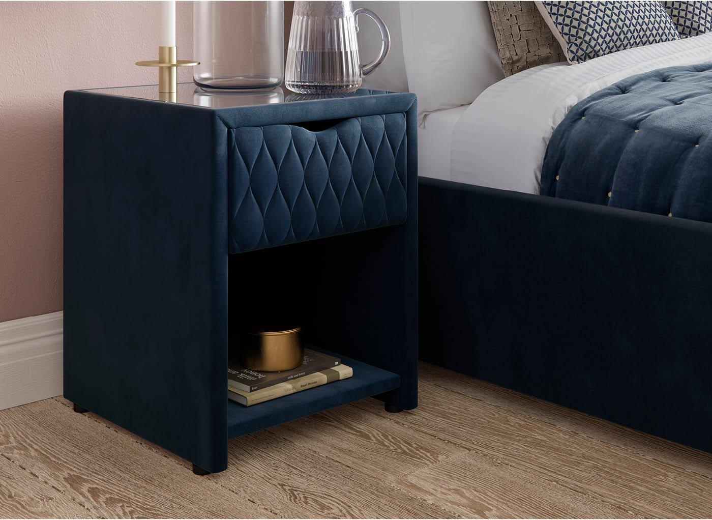 Grove Blue Bedside Table with USB