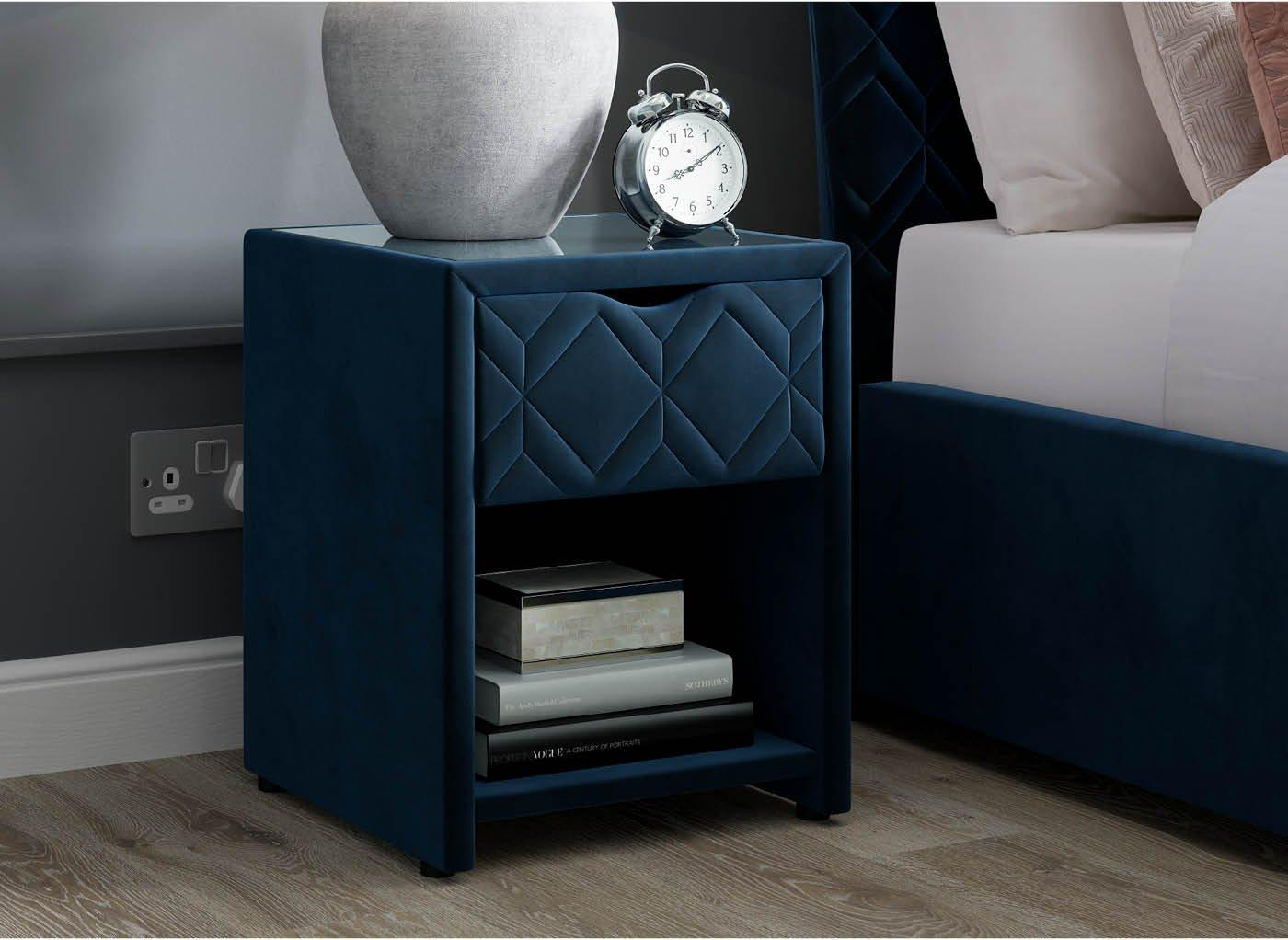 Neva Blue Bedside Table with USB