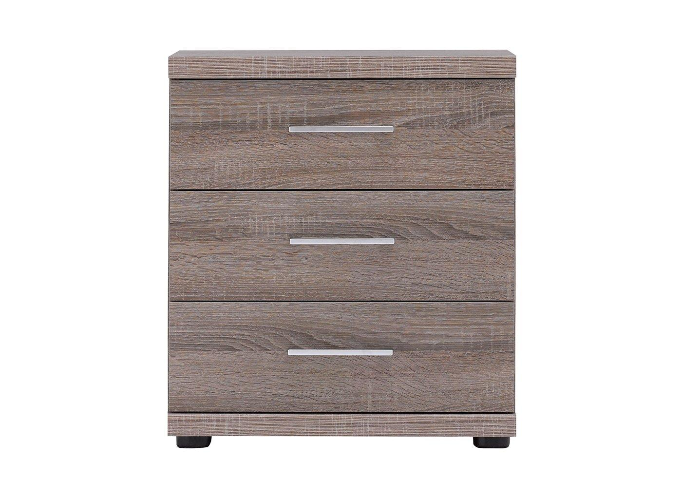Melbourne 3 Drawer Bedside Table – Oak (£199)