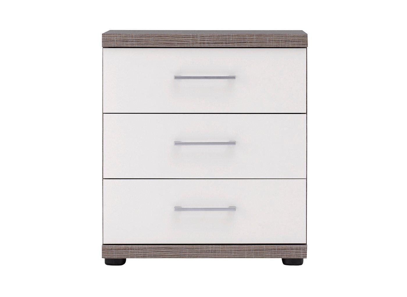 Melbourne 3 Drawer Bedside Table – Oak & White (£199)