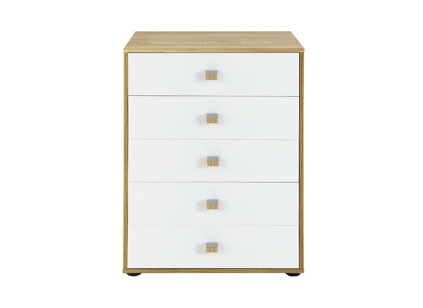 Minsk 5 Drawer Chest - Oak & White BROWN
