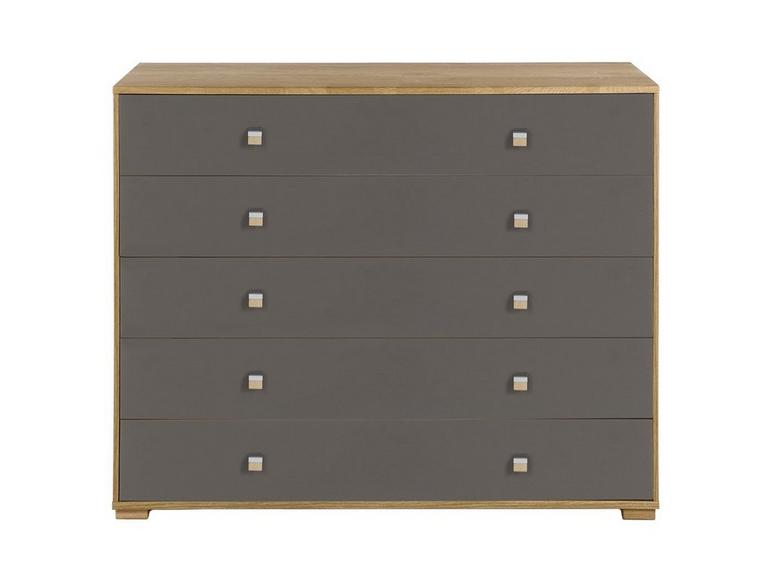 Minsk 5 Drawer Wide Chest - Oak & Grey BROWN