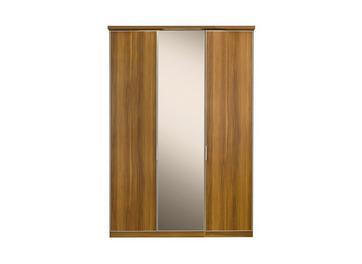 Berkeley 3 Mirror Door Hinged Wardrobe Walnut