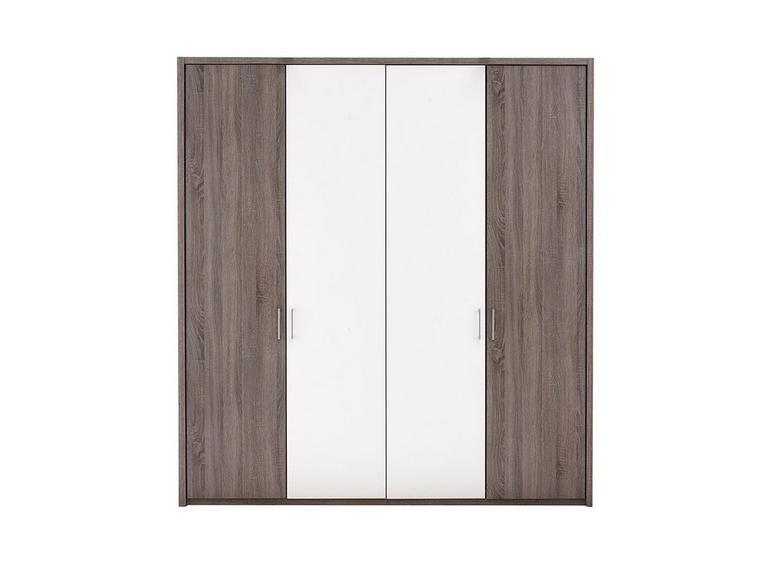 Melbourne 4 Door Hinged Wardrobe - Oak & White