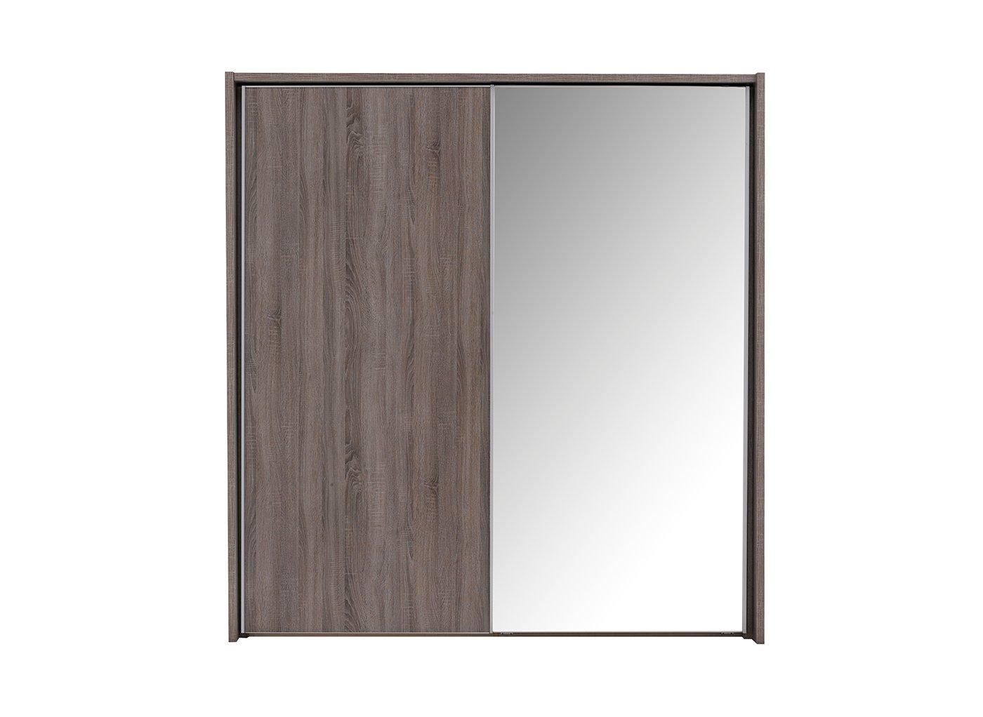 Melbourne 2 Mirror Door Sliding Wardrobe – Oak – Medium (£899)