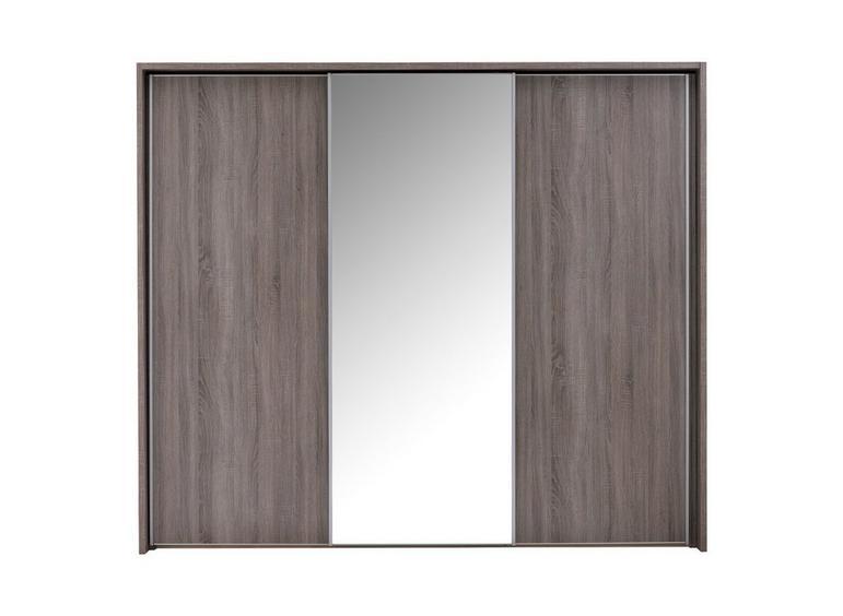 Melbourne 3 Mirror Door Sliding Wardrobe - Oak GREY