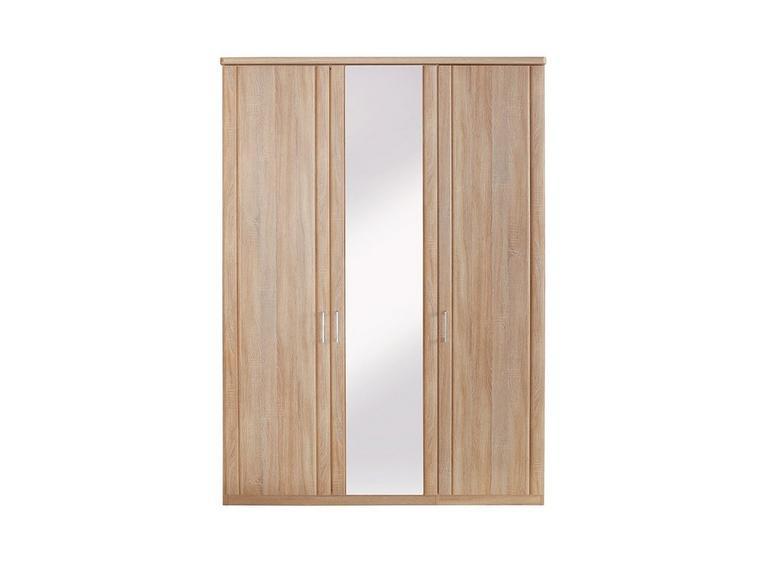 Florida 3 Door Wardrobe With 1 Mirrored Door CREAM