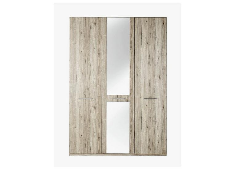 Samara 3 Door Wardrobe with Mirror - Oak BROWN