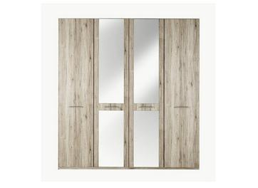 Samara 4 Door Wardrobe with Mirrors - Oak