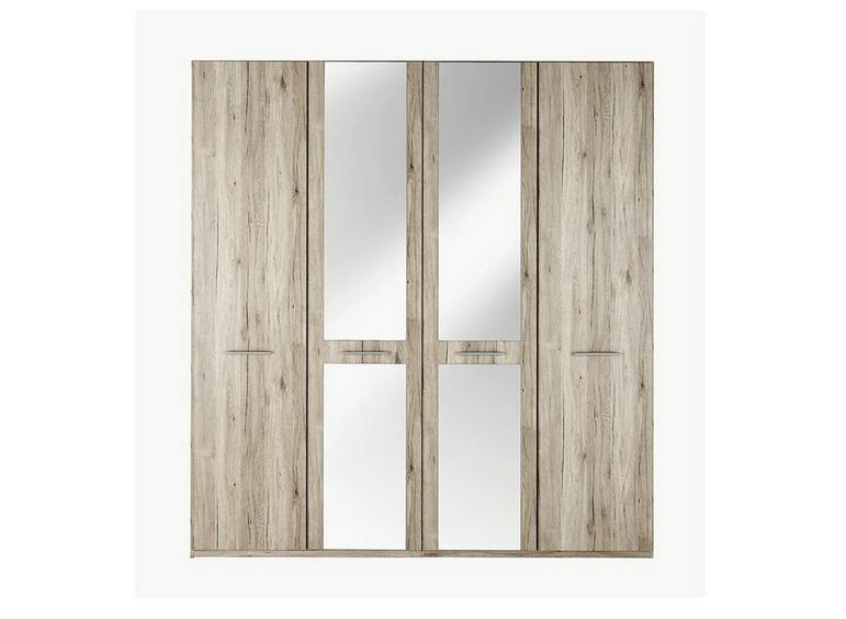 Samara 4 Door Wardrobe with Mirrors - Oak BROWN