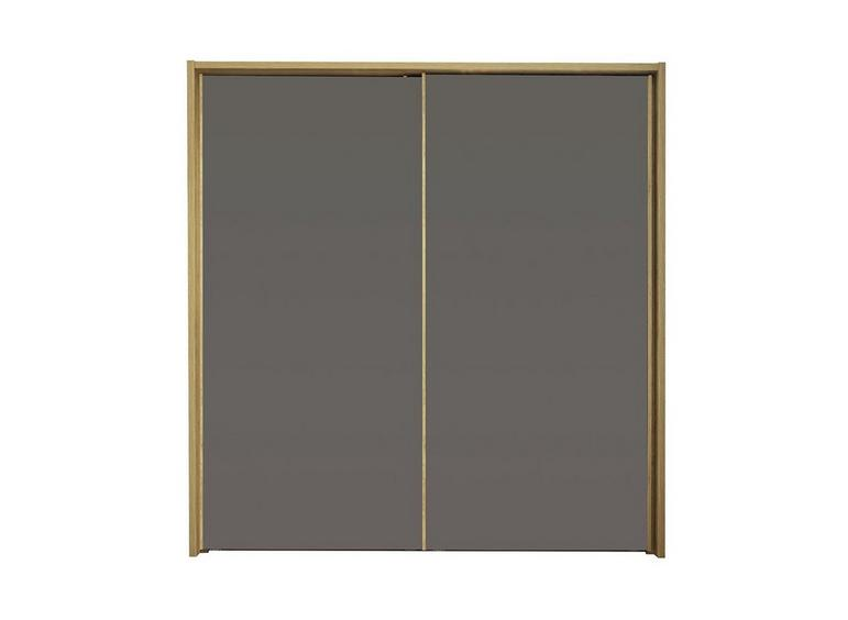 Minsk 2 Door Sliding Wardrobe - Oak & Grey BROWN