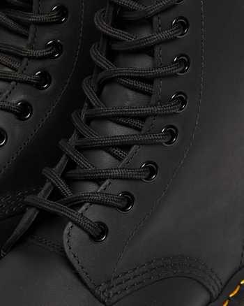 DR MARTENS scarpe 1461 PW BLACK NOIR GREASY shoes nero
